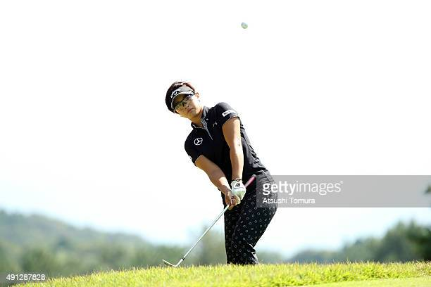 Asuka Kashiwabara of Japan chips onto the 2nd green during the final round of Japan Women's Open 2015 at the Katayamazu Golf Culb on October 4 2015...