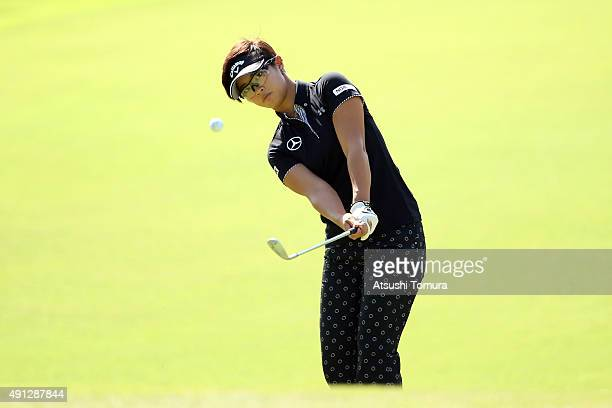 Asuka Kashiwabara of Japan chips onto the 4th green during the final round of Japan Women's Open 2015 at the Katayamazu Golf Culb on October 4 2015...