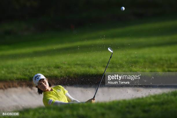 Asuka Kashiwabara of Japan hits from a bunker on the 17th hole during the second round of the 50th LPGA Championship Konica Minolta Cup 2017 at the...