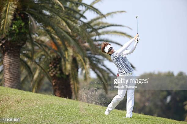 Asuka Kashiwabara of Japan hits her second shot on the 13th hole during the second round of Fujisankei Ladies Classic at the Kawana Hotel Golf Course...