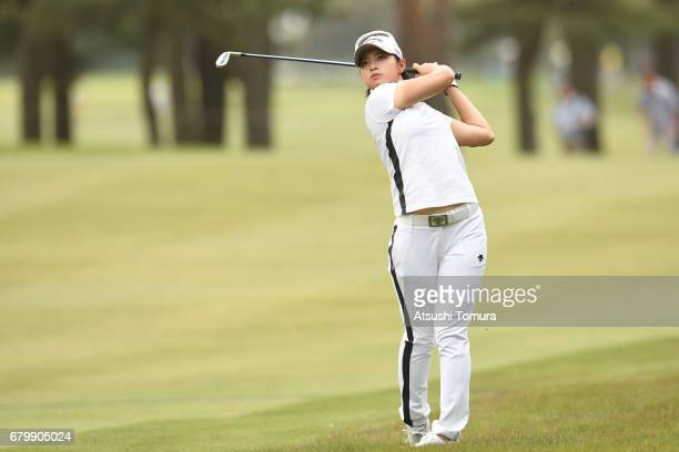Asuka Kashiwabara of Japan hits her second shot on the 7th hole during the final round of the World Ladies Championship Salonpas Cup at the Ibaraki...
