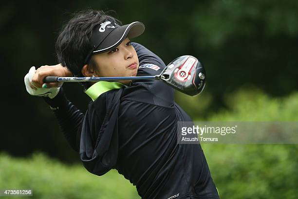 Asuka Kashiwabara of Japan hits her tee shot on the 15th hole during the second round of the HokennoMadoguchi Ladies at the Fukuoka Country Club...