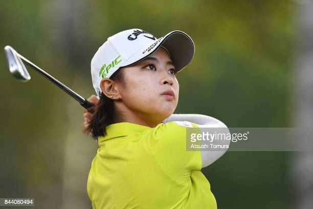 Asuka Kashiwabara of Japan hits her tee shot on the 17th hole during the second round of the 50th LPGA Championship Konica Minolta Cup 2017 at the...