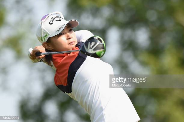 Asuka Kashiwabara of Japan hits her tee shot on the 1st hole during the first round of the Nipponham Ladies Classics at the Ambix Hakodate Club on...