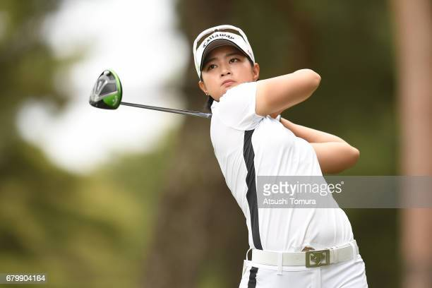 Asuka Kashiwabara of Japan hits her tee shot on the 2nd hole during the final round of the World Ladies Championship Salonpas Cup at the Ibaraki Golf...