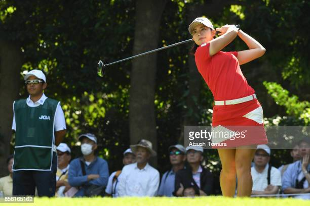 Asuka Kashiwabara of Japan hits her tee shot on the 2nd hole during the final round of Japan Women's Open 2017 at the Abiko Golf Club on October 1...