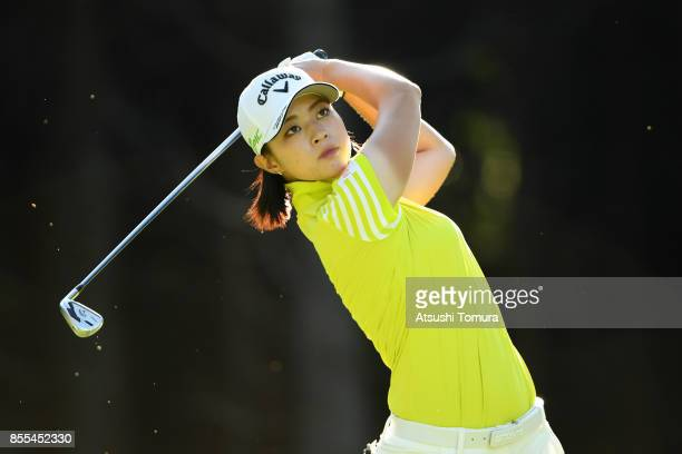 Asuka Kashiwabara of Japan hits her tee shot on the 4th hole during the second round of Japan Women's Open 2017 at the Abiko Golf Club on September...
