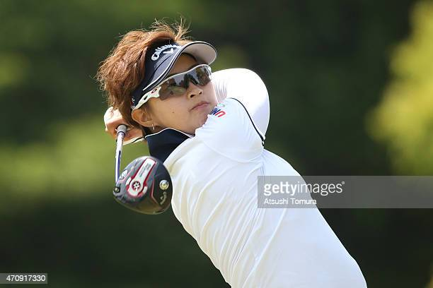 Asuka Kashiwabara of Japan hits her tee shot on the 5th hole during the first round of Fujisankei Ladies Classic at the Kawana Hotel Golf Course Fuji...