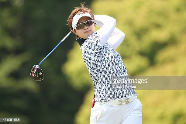 Asuka Kashiwabara of Japan hits her tee shot on the 5th hole during the second round of Fujisankei Ladies Classic at the Kawana Hotel Golf Course...