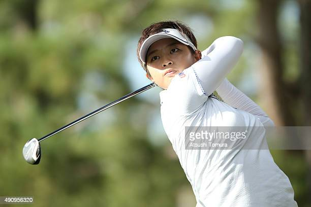 Asuka Kashiwabara of Japan hits her tee shot on the 7th hole during second round of Japan Women's Open 2015 at the Katayamazu Golf Culb on October 2...