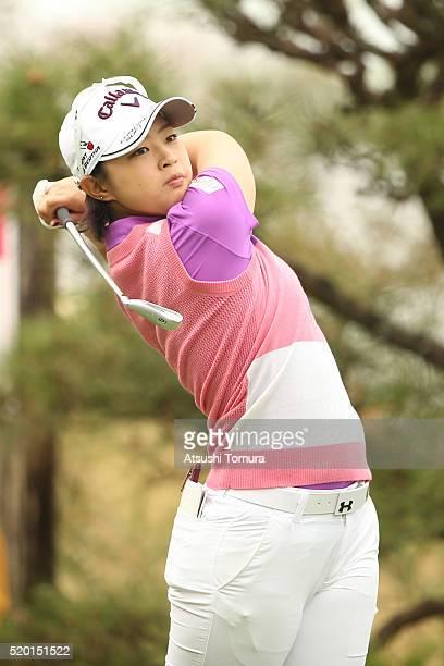 Asuka Kashiwabara of Japan hits her tee shot on the 7th hole during the Studio Alice Open at the Hanayashiki Golf Club Yokawa Course on April 10 2016...