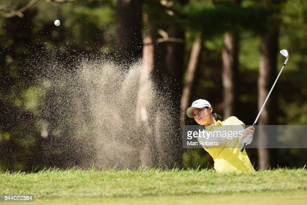 Asuka Kashiwabara of Japan hits out of the 3rd green bunker during the second round of the 50th LPGA Championship Konica Minolta Cup 2017 at the Appi...