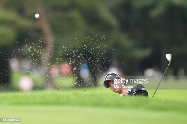 Asuka Kashiwabara of Japan hits out of the first grren bunker during the final round of the NEC Karuizawa 72 Golf Tournament 2017 at the Karuizawa 72...