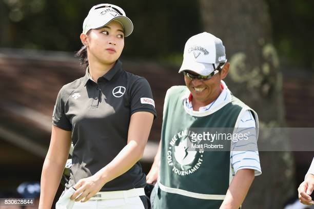 Asuka Kashiwabara of Japan looks on during the second round of the NEC Karuizawa 72 Golf Tournament 2017 at the Karuizawa 72 Golf North Course on...