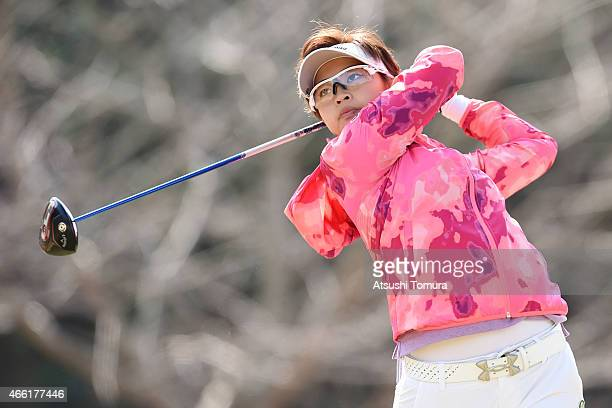Asuka Kashiwabara of Japan plays a tee shot on the 3rd hole during the second round of the Yokohama Tyre PRGR Ladies Cup at the Tosa Country Club on...