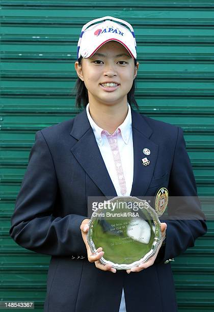 Asuka Kashiwabara of Japan poses for a photograph after winning the Junior Open Championship at Fairhaven Golf Club on July 18 2012 in Lytham St...