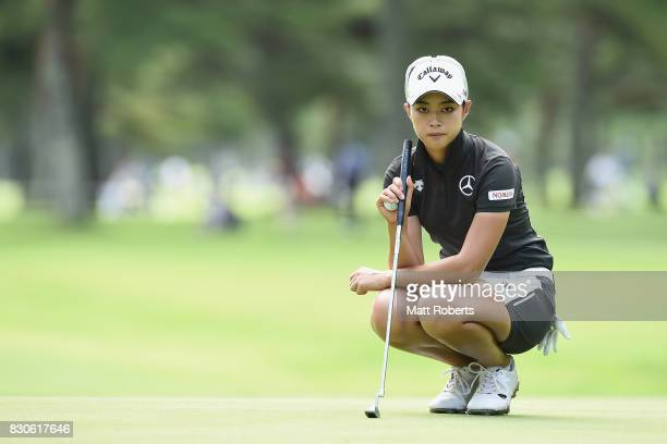 Asuka Kashiwabara of Japan prepares to putt on the 9th green during the second round of the NEC Karuizawa 72 Golf Tournament 2017 at the Karuizawa 72...