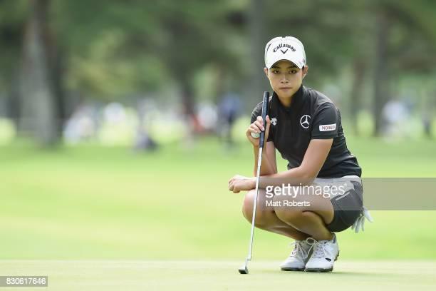 Asuka Kashiwabara of Japan prepares to putt on the 9th green during the second round of the NEC Karuizawa 72 Golf Tournament 2017 at the Karuizawa 72...