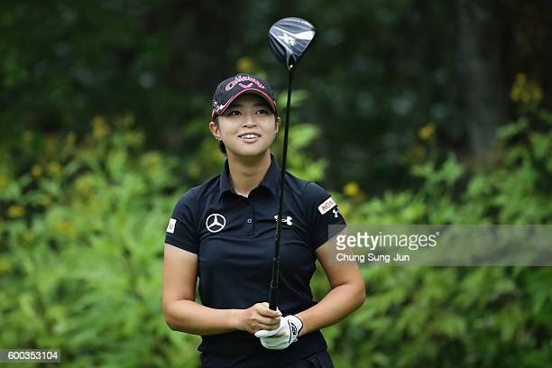Asuka Kashiwabara of Japan reacts after a tee shot on the 2nd hole during the first round of the 49th LPGA Championship Konica Minolta Cup 2016 at...