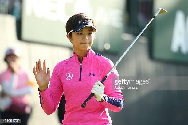 Asuka Kashiwabara of Japan reacts during the third round of Japan Women's Open 2015 at the Katayamazu Golf Culb on October 3 2015 in Kaga Japan