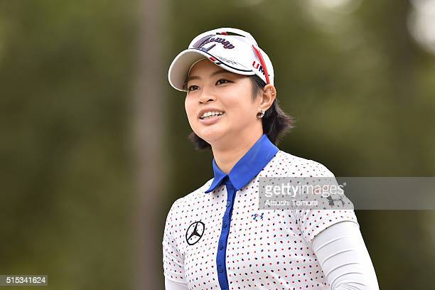 Asuka Kashiwabara of Japan smiles during the final round of the Yokohama Tire PRGR Ladies Cup at the Tosa Country Club on March 13 2016 in Konan Japan