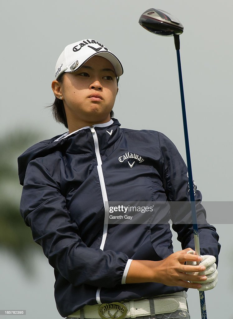 Asuka Kashiwabara of Japan tees off on the ninth hole during day two of the Sunrise LPGA Taiwan Championship on October 25, 2013 in Taoyuan, Taiwan.