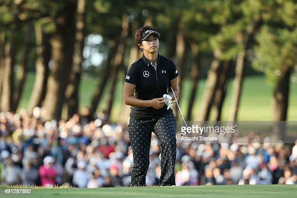 Asuka Kashiwabara of Japan walks up to the 18th green during the final round of Japan Women's Open 2015 at the Katayamazu Golf Culb on October 4 2015...