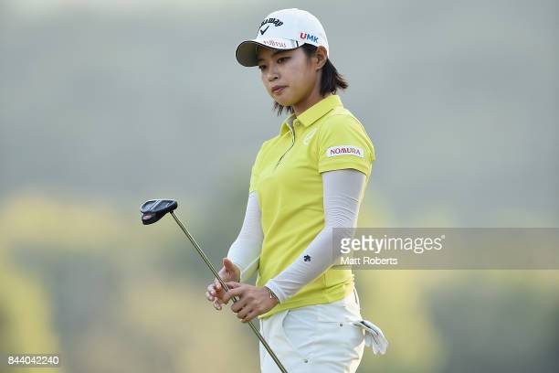 Asuka Kashiwabara of Japan watches her putt on the 18th green during the second round of the 50th LPGA Championship Konica Minolta Cup 2017 at the...