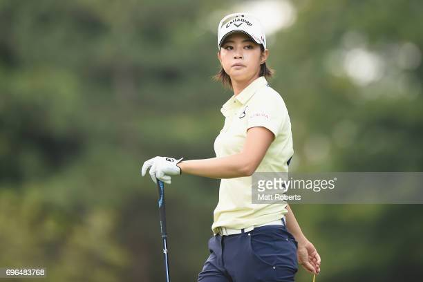 Asuka Kashiwabara of Japan watches her tee shot on the 2nd hole during the first round of the Nichirei Ladies at the Sodegaura Country Club Shinsode...