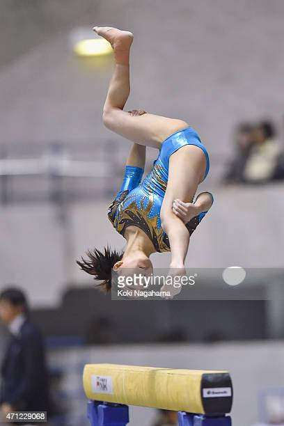 Asuka Teramoto competes in the Balance Beam during day three of the All Japan Artistic Gymnastics Individual All Around Championships at Yoyogi...
