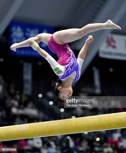 Asuka Teramoto competes in the Balance Beam during day two the All Japan Artistic Gymnastics Apparatus Championships at Takasaki Arena on June 25...