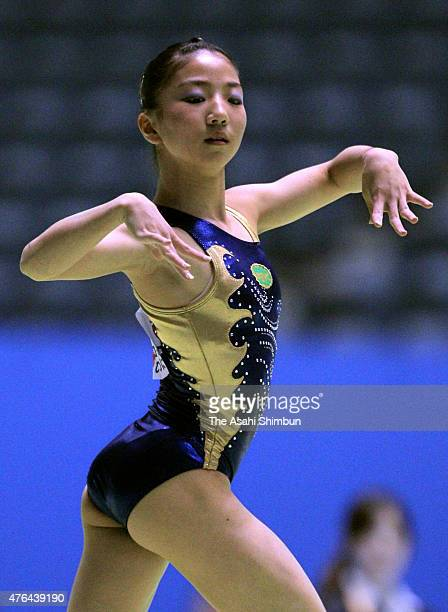 Asuka Teramoto competes in the floor during day two of the NHK Trophy Artistic Gymnastics at Yoyogi National Gymnasium on June 12 2011 in Tokyo Japan