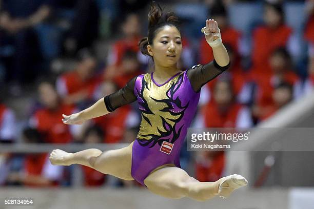 Asuka Teramoto competes in the Floor Exercise during the Artistic Gymnastics NHK Trophy at Yoyogi National Gymnasium on May 4 2016 in Tokyo Japan