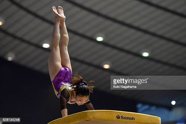 Asuka Teramoto competes in the Horse Vault during the Artistic Gymnastics NHK Trophy at Yoyogi National Gymnasium on May 4 2016 in Tokyo Japan