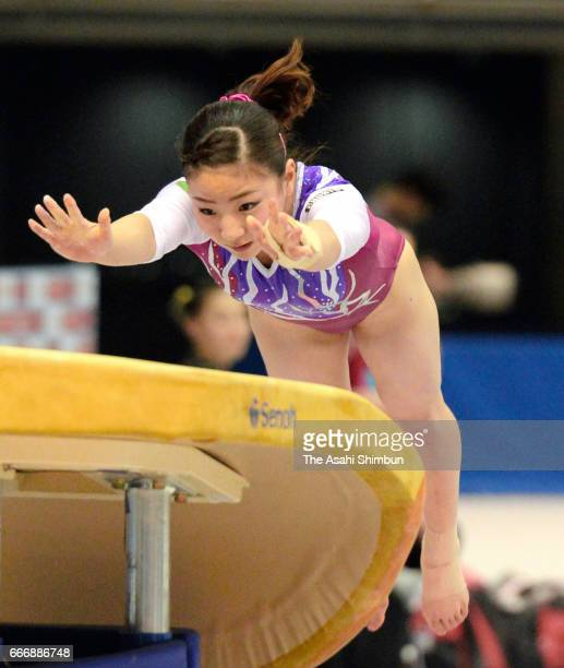 Asuka Teramoto competes in the Women's Horse Vault during day one of the All Japan Artistic Gymnastics Championships at Tokyo Metropolitan Gymnasium...