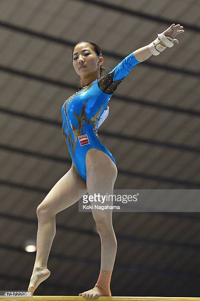 Asuka Teramoto competes on the Balance Beam during the Artistic Gymnastics NHK Trophy at Yoyogi National Gymnasium on May 17 2015 in Tokyo Japan
