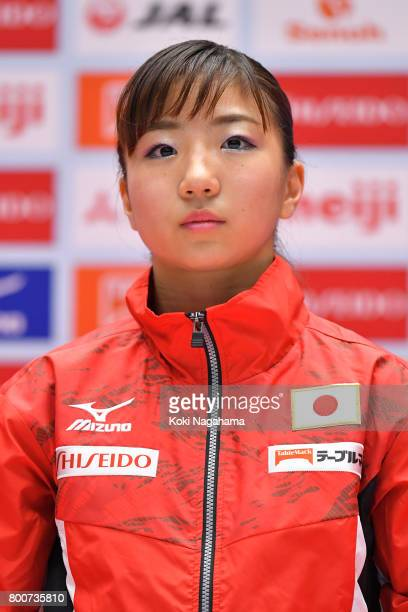 Asuka Teramoto looks on in the award ceremony during Japan National Gymnastics Apparatus Championships at the Takasaki Arena on June 25 2017 in...
