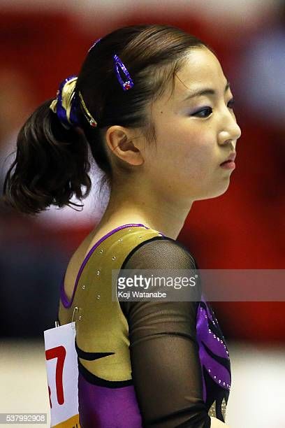 Asuka Teramoto looks on the AllJapan Gymnastic Appratus Championshipsat Yoyogi National Gymnasium on June 4 2016 in Tokyo Japan