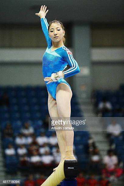 Asuka Teramoto of Japan competes in the Balance Beam during the 68th All Japan Gymnastics Apparatus Championships on July 5 2014 in Chiba Japan
