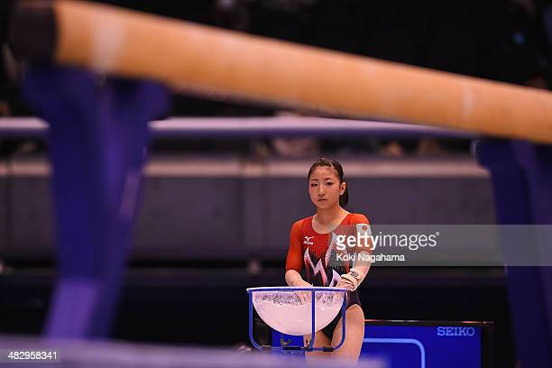 Asuka Teramoto of Japan competes in the Balance Beam of the Women's All Around Final during Gymnastics Tokyo World Cup 2014 at Tokyo Metropolitan...
