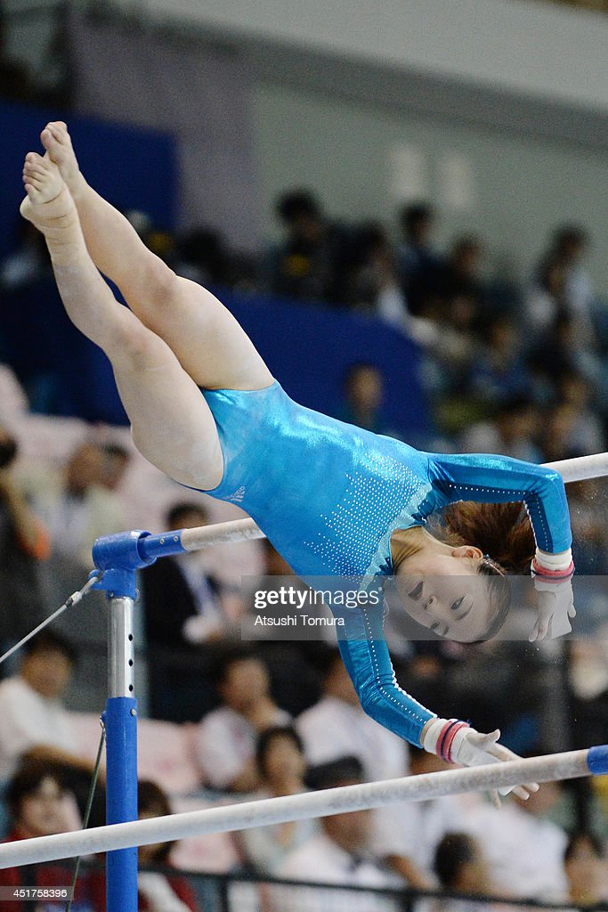 Asuka Teramoto of Japan competes in the Uneven Bars during the 68th All Japan Gymnastics Apparatus Championships on July 6, 2014 in Chiba, Japan.