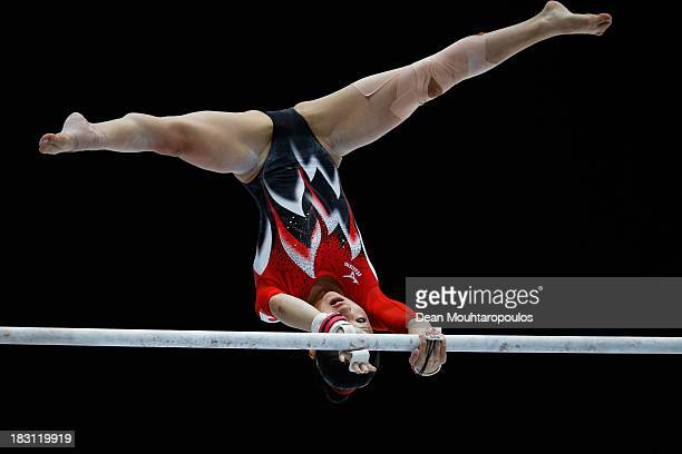 Asuka Teramoto of Japan competes in the Uneven Bars during the Womens AllRound Final on Day Five of the Artistic Gymnastics World Championships...