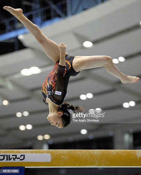Asuka Teramoto of Japan competes in the Women's Balance Beam apparatus final during day three of the 6th Aisan Artistic Gymnastics Championships at...