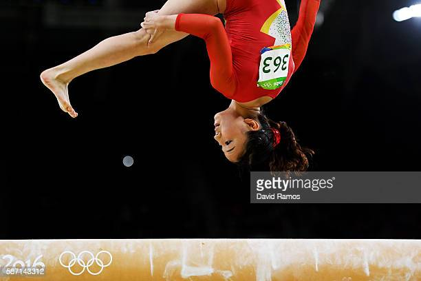 Asuka Teramoto of Japan competes on the balance beam during Women's qualification for Artistic Gymnastics on Day 2 of the Rio 2016 Olympic Games at...