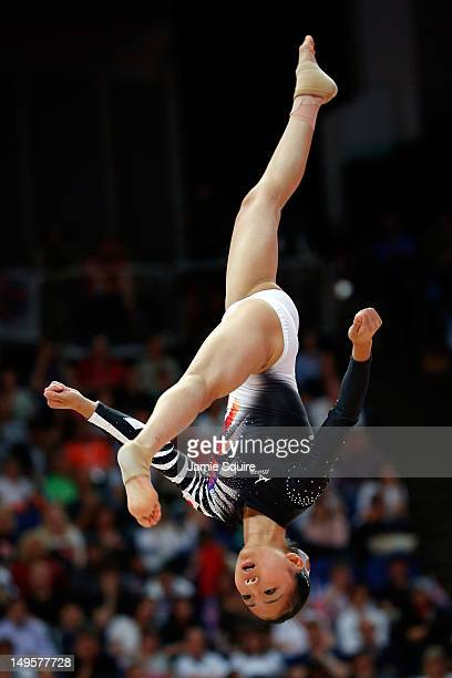 Asuka Teramoto of Japan competes on the balance beam in the Artistic Gymnastics Women's Team final on Day 4 of the London 2012 Olympic Games at North...