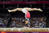 Asuka Teramoto of Japan competes on the balance beam in the Artistic Gymnastics Women's Individual AllAround final on Day 6 of the London 2012...