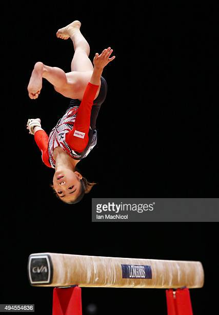Asuka Teramoto of Japan competes on the Floor during day five of World Artistic Gymnastics Championship at The SSE Hydro on October 27 2015 in...
