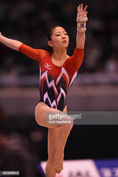 Asuka Teramoto of Japan competes on the floor of the Women's All Around Final during Gymnastics Tokyo World Cup 2014 at Tokyo Metropolitan Gymnasium...