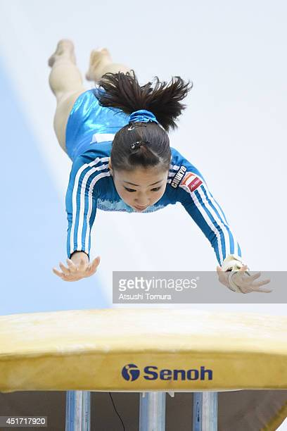 Asuka Teramoto of Japan competes on the Vault during the 68th All Japan Gymnastics Apparatus Championships on July 5 2014 in Chiba Japan