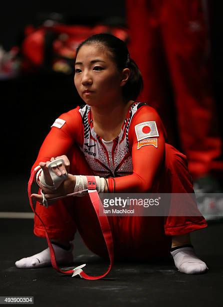 Asuka Teramoto of Japan looks on during Day One of the 2015 World Artistic Gymnastics Championships at The SSE Hydro on October 23 2015 in Glasgow...